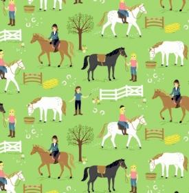 50cm Baumwollstoff 100% Baumwolle Meterware Kinderstoff Hergestellt nach ÖkoTex100 Reiterhof / Ponyhof grün  - Handarbeit kaufen