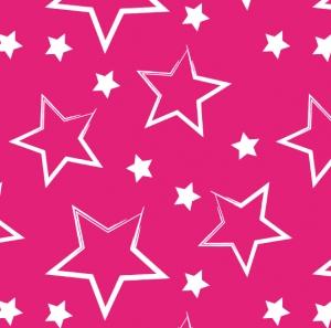 50cm Baumwollstoff 100% Baumwolle Meterware Kinderstoff Hergestellt nach ÖkoTex100 Sterne Pink - Handarbeit kaufen