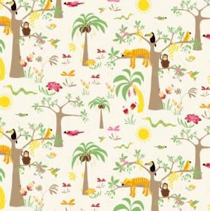 50cm Baumwollstoff 100% Baumwolle Meterware Kinderstoff Hergestellt nach ÖkoTex100 Dschungeltiere auf Palme - Handarbeit kaufen