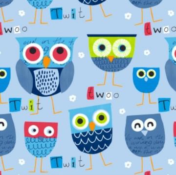 50cm Baumwollstoff 100% Baumwolle Meterware Kinderstoff Hergestellt in Deutschland nach ÖkoTex100 Eulen blau