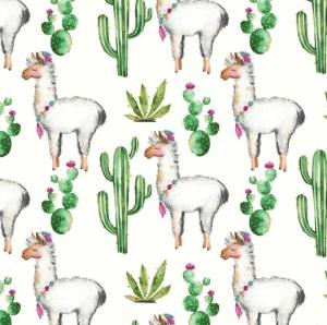 50cm Baumwollstoff 100% Baumwolle Meterware Kinderstoff Hergestellt in Deutschland nach ÖkoTex100 Lama Alpaka Kaktus weiß