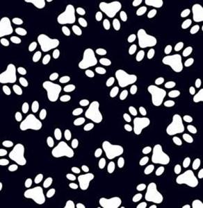 50cm Baumwollstoff 100% Baumwolle Meterware Kinderstoff Hergestellt in Deutschland nach ÖkoTex100 Pfoten auf schwarz, Pfötchen, Katze, Hund, Paw, Tatze