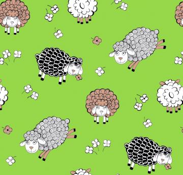 50cm Baumwollstoff 100% Baumwolle Meterware Kinderstoff Hergestellt in Deutschland nach ÖkoTex100 Schafe auf grün