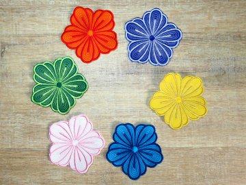 Applikation Stickbild Bügelflicken Aufnäher Bügelbild Hosenflicken Knieflicken Verzierung Blume Stickblume Farbwahl 10cm