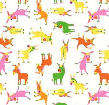50cm Single Jersey Stoff Meterware Kinderstoff / Bekleidungsstoff Hergestellt nach ÖkoTex100 Esel rosa orange gelb grün - Handarbeit kaufen
