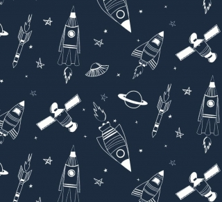 50cm Single Jersey Stoff Meterware Kinderstoff / Bekleidungsstoff Hergestellt nach ÖkoTex100 Weltall Rakete Astronaut