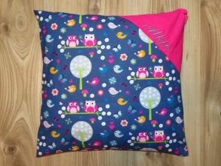 Dekokissen mit Namen bestickt 40x40 Namenskissen Kissenbezug Kissenhülle Sofakissen Geschenk Kind Kinderkissen Eulen Wald Grau Pink