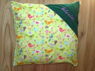 Dekokissen mit Namen bestickt 40x40 Namenskissen Kissenbezug Kissenhülle Sofakissen Geschenk Kind Kinderkissen Vögel grün
