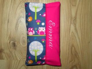 Wickeltasche mit Namen bestickt individuelles Babygeschenk Baby Unterwegs Windeletui Eulen Grau Pink Mädchen Wunschname personalisiert