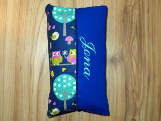 Wickeltasche mit Namen bestickt individuelles Babygeschenk Baby Unterwegs Windeletui Eulen Blau Unisex Junge / Mädchen Wunschname personalisiert