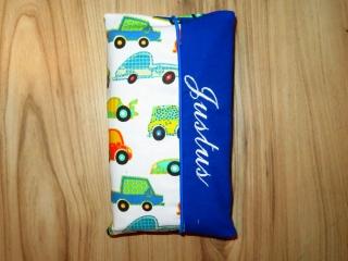 Wickeltasche mit Namen bestickt individuelles Babygeschenk Baby Unterwegs Windeletui Autos Cars Blau Unisex Junge / Mädchen Wunschname personalisiert