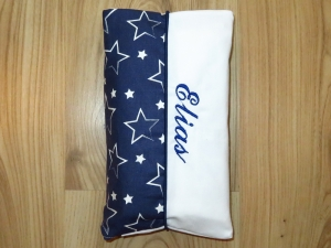 Wickeltasche mit Namen bestickt individuelles Babygeschenk Baby Unterwegs Windeletui Sterne Blau Unisex Junge / Mädchen Wunschname personalisiert
