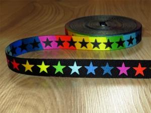 Webband Bordüre Borte Kordel Schlüsselband Bastelband Sterne Bunt Regenbogen Applikation
