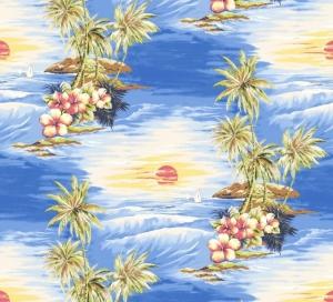 50cm Single Jersey Stoff Meterware Kinderstoff / Bekleidungsstoff Hergestellt nach ÖkoTex100 Insel Sonnenuntergang Palmen Urlaub - Handarbeit kaufen