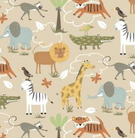 50cm BIO Baumwollstoff 100% Baumwolle Meterware Kinderstoff Hergestellt in Deutschland nach ÖkoTex100 Zoo Tiere Affe, Löwe, Zebra, Giraffe, Krokodil
