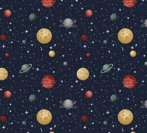 50cm Baumwollstoff 100% Baumwolle Meterware Kinderstoff Hergestellt nach ÖkoTex100 Sterne auf schwarz Universum Mars, Venus, Pluto, Mond, Saturn
