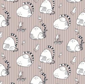 50cm Baumwollstoff 100% Baumwolle Meterware Kinderstoff Hergestellt nach ÖkoTex100 Katzen und Mäuse auf grau gestreift - Handarbeit kaufen