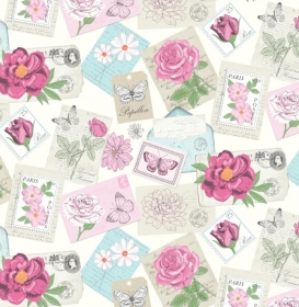 50cm Baumwollstoff 100% Baumwolle Meterware Kinderstoff Hergestellt nach ÖkoTex100 Rosen, Blüten und Schrift Rosa Postkarten