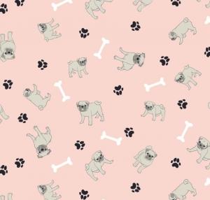 50cm Baumwollstoff 100% Baumwolle Meterware Kinderstoff Hergestellt nach ÖkoTex100 Hunde, Mops, Knochen, Pfote