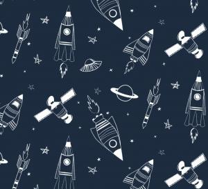 50cm Baumwollstoff 100% Baumwolle Meterware Kinderstoff Hergestellt nach ÖkoTex100 Universum Planeten Raketen Sateliten Dunkelblau - Handarbeit kaufen