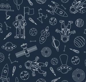 50cm Baumwollstoff 100% Baumwolle Meterware Kinderstoff Hergestellt nach ÖkoTex100 Universum Planeten Raketen Sateliten Dunkelblau
