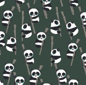 50cm BIO Baumwollstoff 100% Baumwolle Meterware Kinderstoff Hergestellt nach GOTS Richtlinien Pandas auf Bambus