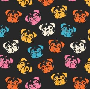50cm Baumwollstoff 100% Baumwolle Meterware Kinderstoff Hergestellt nach ÖkoTex100 Hunde, Mops, bunte Hunde - Handarbeit kaufen