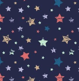 50cm Baumwollstoff 100% Baumwolle Meterware Kinderstoff Hergestellt nach ÖkoTex100 bunte Sterne auf dunkelblau  - Handarbeit kaufen