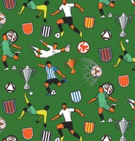 50cm Baumwollstoff 100% Baumwolle Meterware Kinderstoff Hergestellt nach ÖkoTex100 Fussball grün Soccer Sport Pokal - Handarbeit kaufen