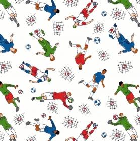50cm Baumwollstoff 100% Baumwolle Meterware Kinderstoff Hergestellt nach ÖkoTex100 Fussball Soccer Sport  - Handarbeit kaufen