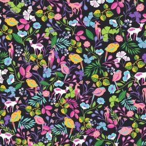 50cm Baumwollstoff 100% Baumwolle Meterware Kinderstoff Hergestellt nach ÖkoTex100 Bunte Blumen Blüten, Blätter, Vögel, Rehe - Handarbeit kaufen