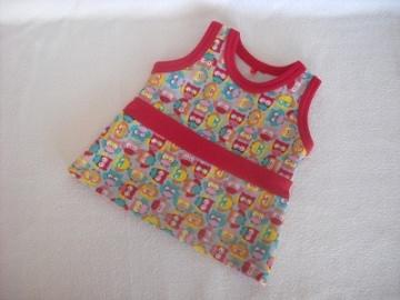 Puppenkleid Sommerkleid mit Eulen Motiv ca. 43 cm - Handarbeit kaufen