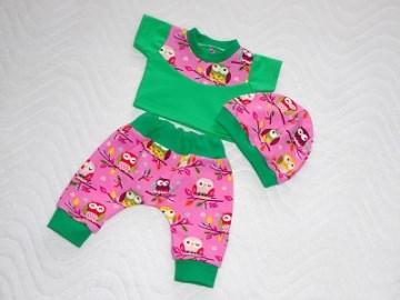3 tlg. Puppenkleidung Set Pumphose Shirt Mütze Eule 46-48 cm