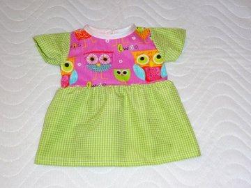 Puppenkleidung rosa/hellgrünes Kleid mit Eulen Motiv ca. 46-48cm