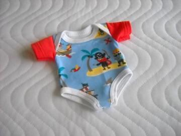 Puppenkleider Body Unterwäsche Piraten Jungs ca. 36-38 cm  - Handarbeit kaufen