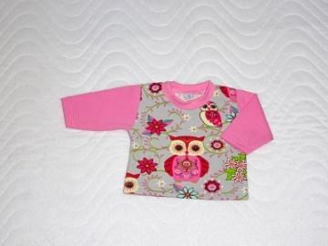 Puppenkleidung Baumwolljersey t-Shirt Eulen für Weichkörper Puppen ca. 46-48 cm   - Handarbeit kaufen