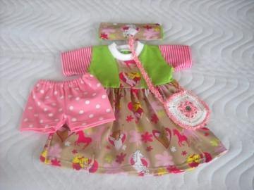 4 tlg. Puppenkleider Set Kleid, Hose, Stirnband & Tasche für Weichkörper Puppen ca. 46-48cm  - Handarbeit kaufen