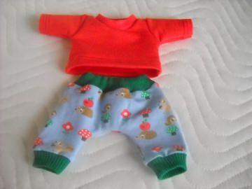 2 tlg. Puppenkleider Set Hose & Shirt mit Igel und Vögel ca. 26-27 cm   - Handarbeit kaufen