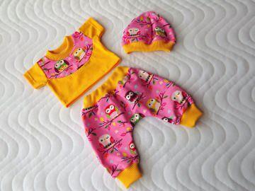 3 tlg. Puppenkleider Set Puppen Pumphose Mütze & Shirt ca. 43cm  - Handarbeit kaufen
