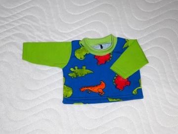 Puppenkleidung Baumwolljersey t-Shirt Dino Saurier Motiv Jungs ca. 43 cm