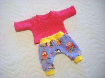2 tlg. Puppenkleider Set Hose & Shirt Eulen ca.36-38 cm - Handarbeit kaufen