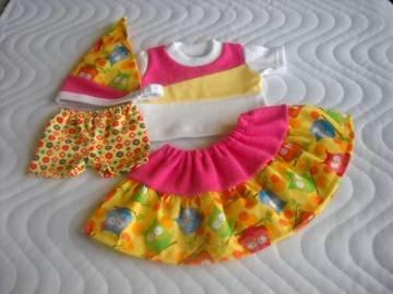 4 tlg. Puppenkleider Set Rock, Hose, Kopftuch & Shirt Eulen für Weichkörper Puppen ca. 46-48 cm  - Handarbeit kaufen