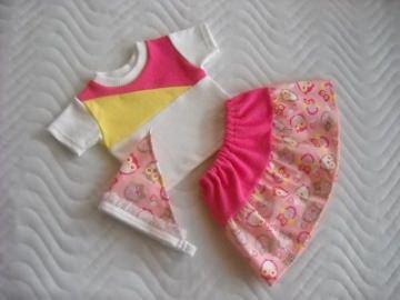 Puppenkleider Rock, Shirt & Kopftuch Eule rosa für Weichkörper Puppen ca. 46-48 cm - Handarbeit kaufen