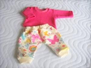 Handgemachte Pumphose & Shirt für Puppen, Schmetterlinge ca.36-38 cm