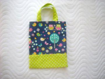 Handgemachte Kindertasche Wendetasche Stofftasche mit Eulen Motiv  - Handarbeit kaufen