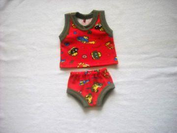 Handgemachte Unterwäsche für Jungs Puppen Hemd und Slip ca. 43 cm