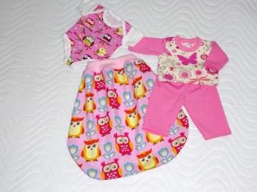 Puppenkleider Set Body, Schlafanzug Strampelsack in rosa mit Eulen Motiv ca. 46-48 cm - Handarbeit kaufen