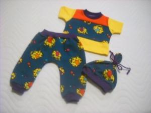 3 tlg. Puppenkleidung Set Pumphose Shirt Mütze Elefant ca. 46-48 cm   - Handarbeit kaufen