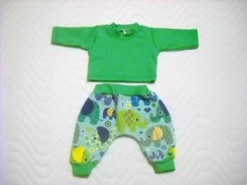 Handgemachtes Kleider Set Pumphose & Shirt für Puppen Elefant ca. 46-48 cm