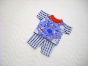 Handgemachtes Set Radlerhose & Shirt für Puppen Baumwolljersey Maritim  ca. 26-27 cm  - Handarbeit kaufen